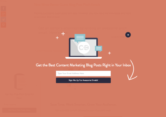 coschedule pop up example
