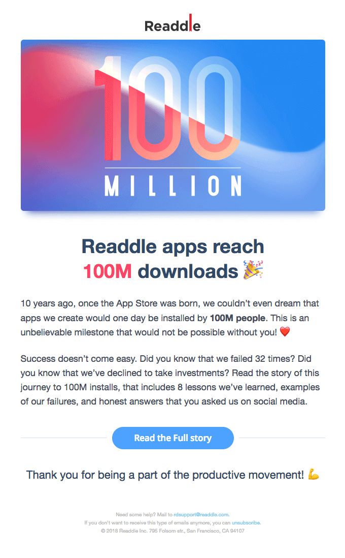 readdle email marketing example