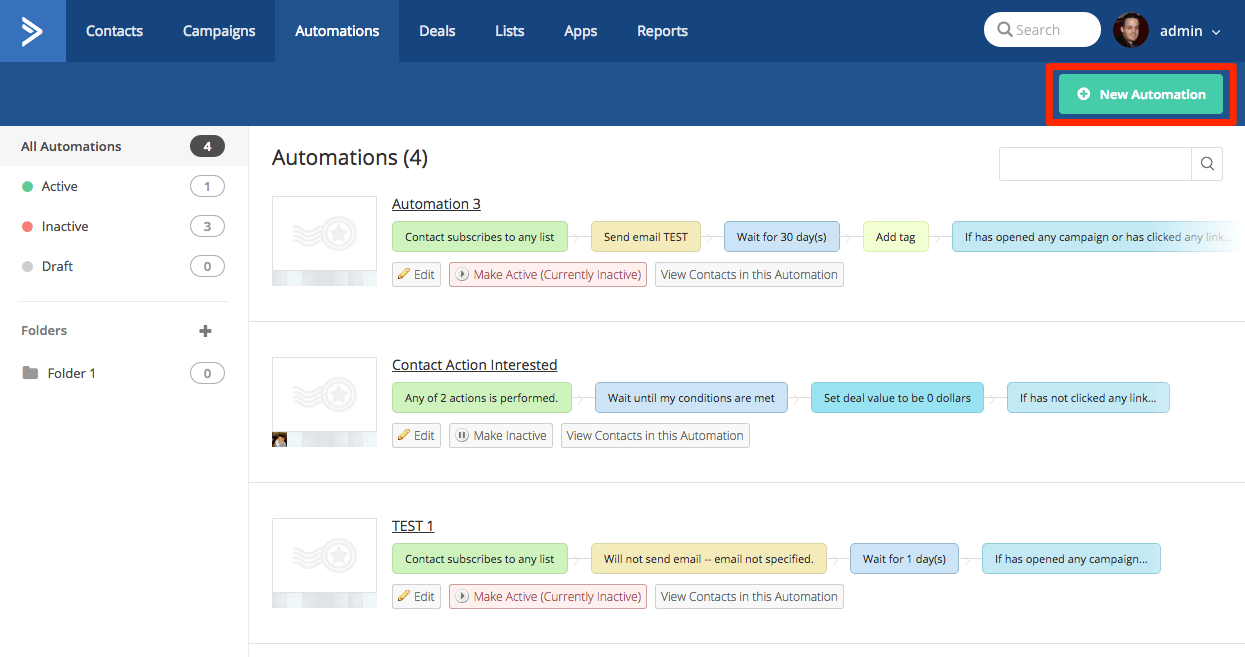 Automation section, New Automation button highlighted