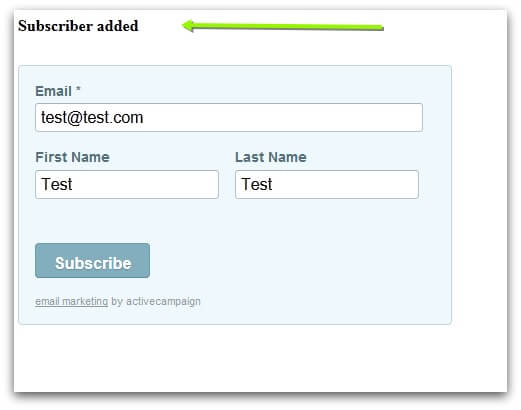 Screenshot of ActiveCampaign subscription form result