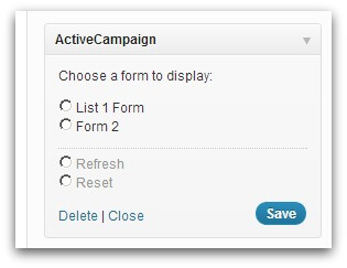 Screenshot of WordPress Widgets section