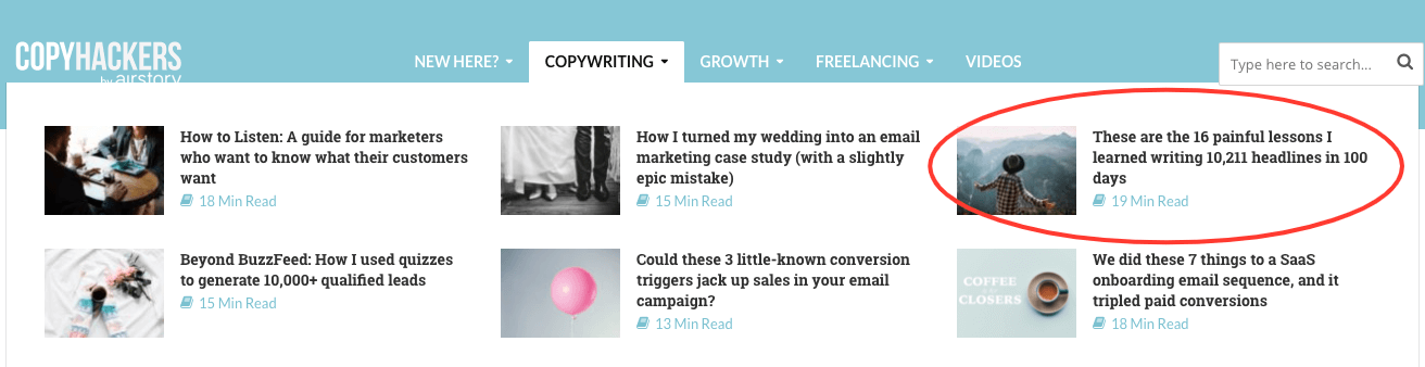 content marketing blog example