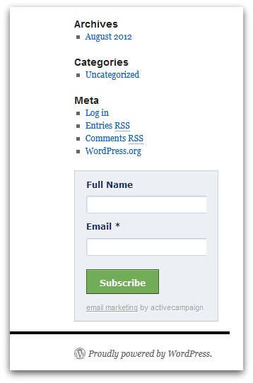 Screenshot of WordPress site
