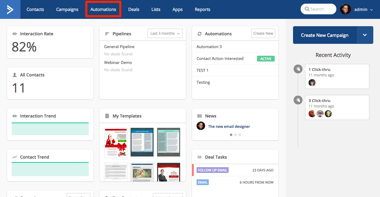 Overview Page 'Automations' selected