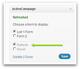 Screenshot of ActiveCampaign widget