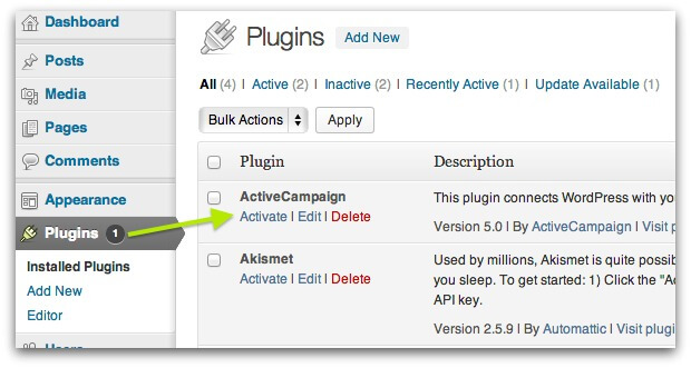 Screenshot of WordPress Plugins page