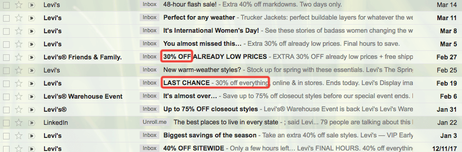 Levis email example