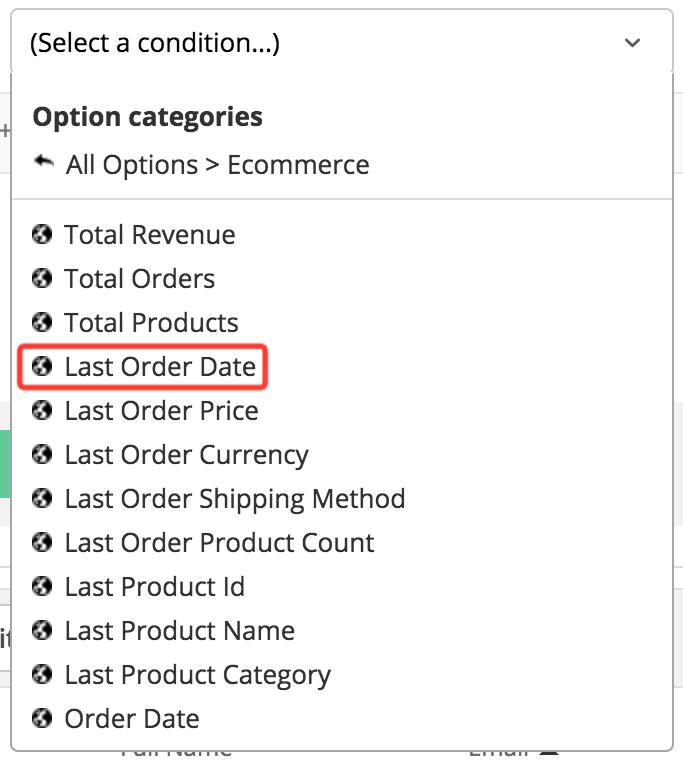 Last Order Date segment in platform