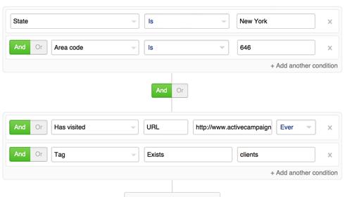 Screenshot of the ActiveCampaign segmentation tool