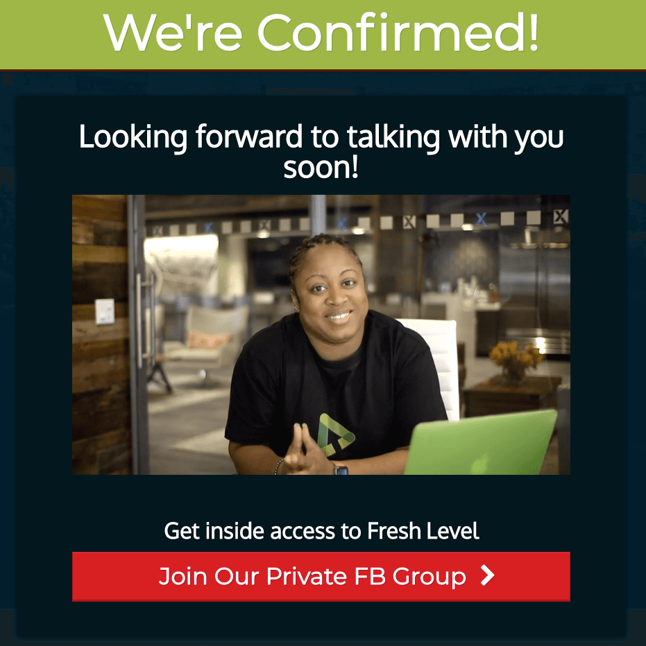 Parchelle adds a confirmation video to her confirmation page