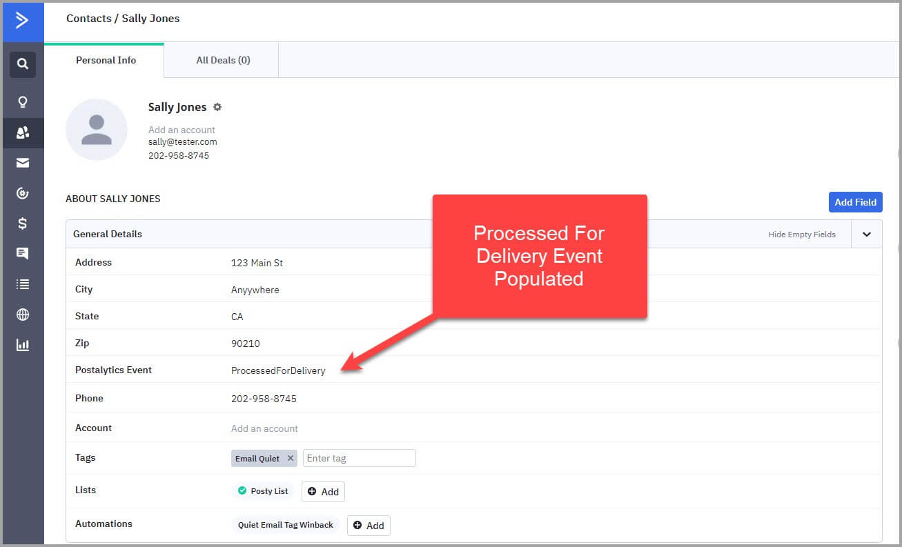 ActiveCampaing contact direct mail automation