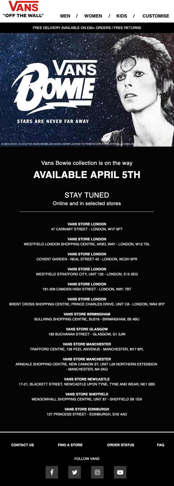 Bowie Vans teaser announcement email