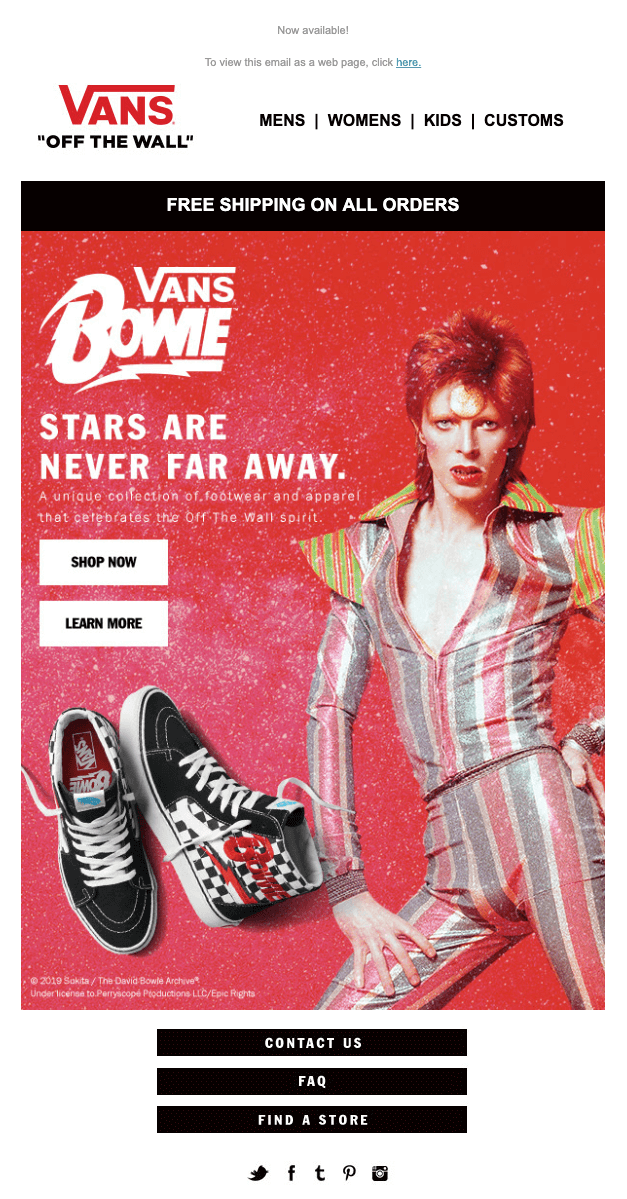 Bowie Vans product launch email