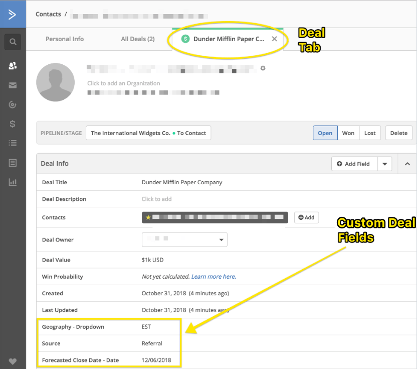 Custom deal fields can be found with all other information associated with a deal when you click on a deal in a pipeline.