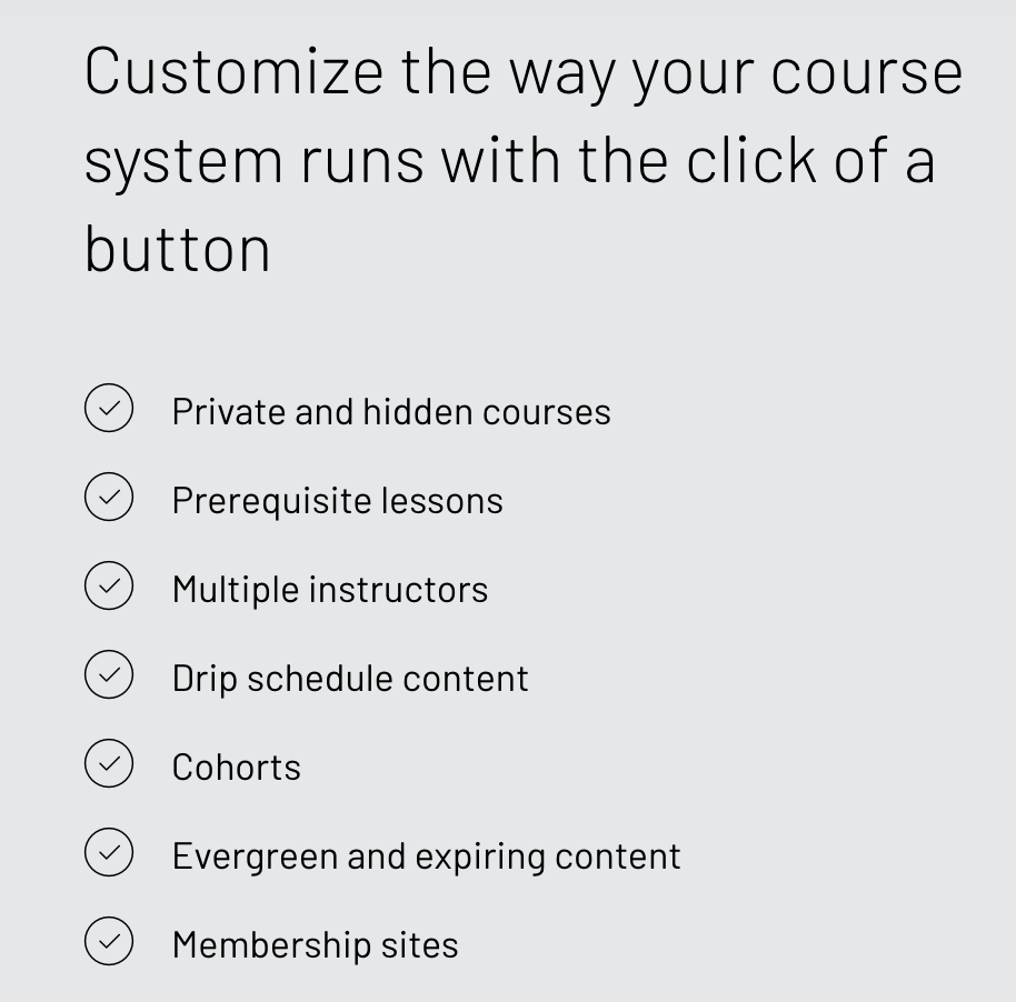 Thinkific course options