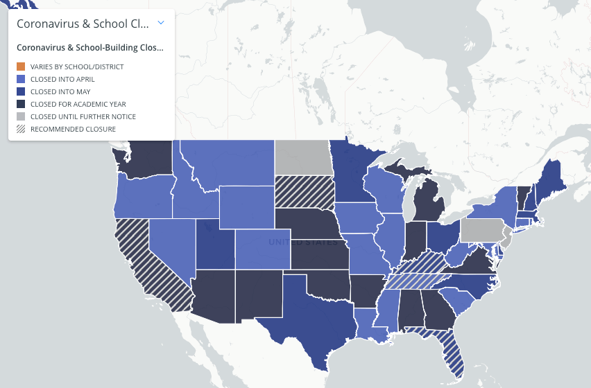 COVID-19 school closings map