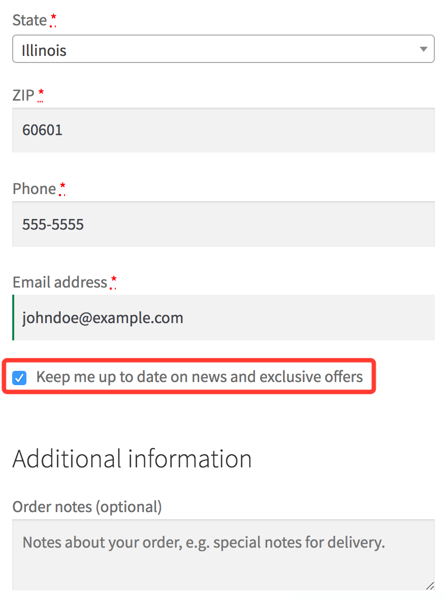 Opt-in checkbox at checkout