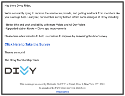 Divvy Chicago Bike Share email newsletter design example for feedback