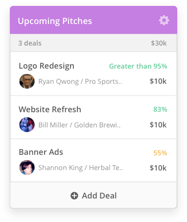 User interface for Upcoming Pitches displaying three deals worth $30,000