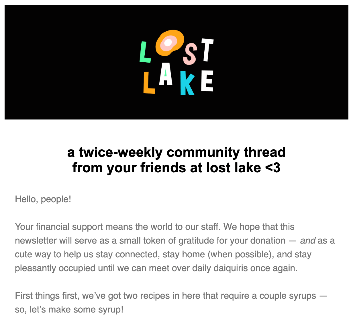 Lost Lake newsletter