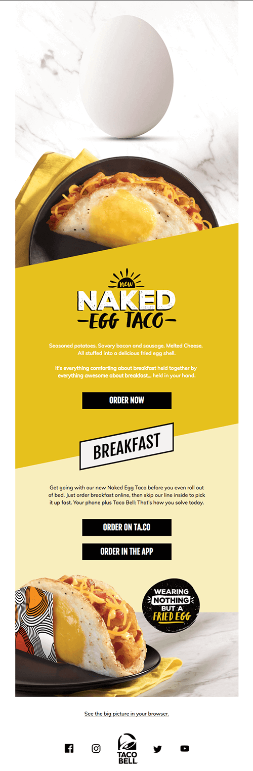 Taco Bell product launch email