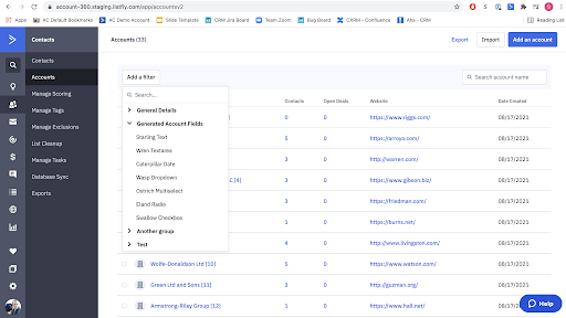 ActiveCampaign CRM Account List Filter