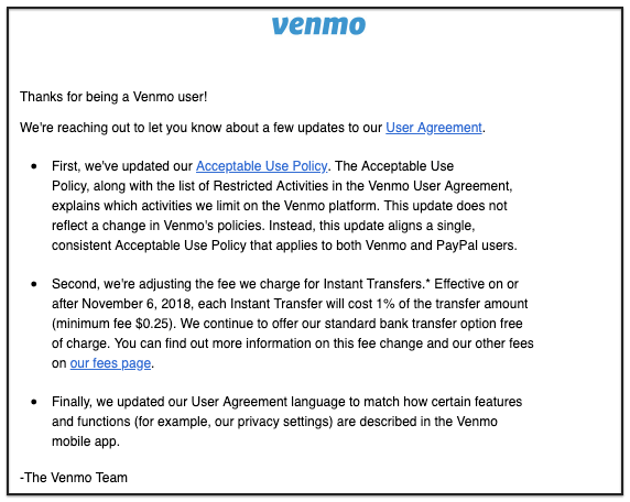 Venmo service update broadcast email