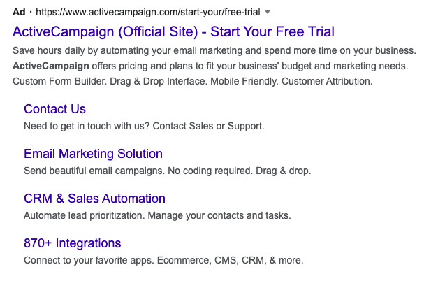 screenshot of ActiveCampaign's paid Google ad