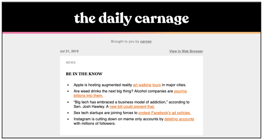 The Daily Carnage digest email broadcast example