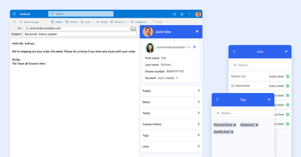 Outlook extension for ActiveCampaign