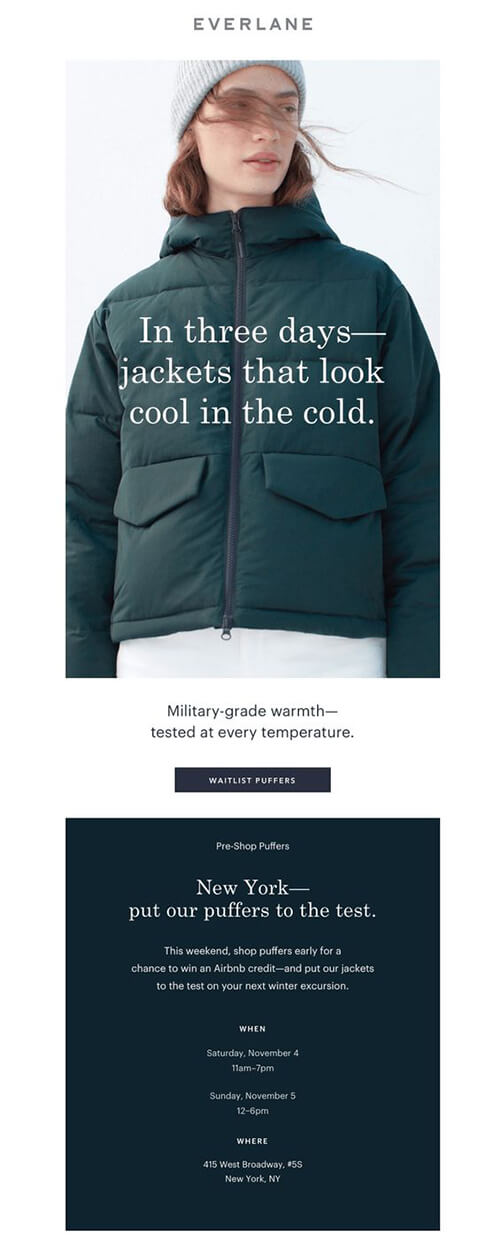 Everlane product launch announcement email
