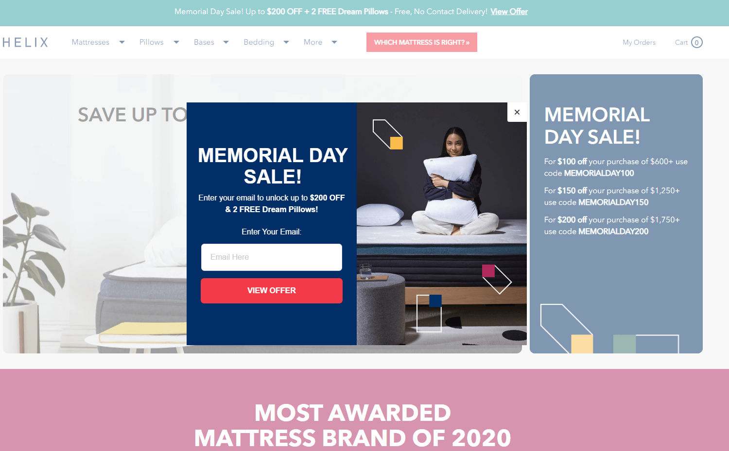 Helix Sleep email popup examples