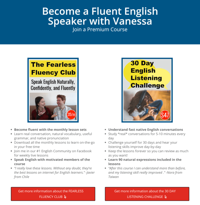 The online English courses Vanessa offers