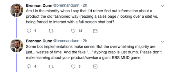 Brennan Dunn tweet about conversational marketing