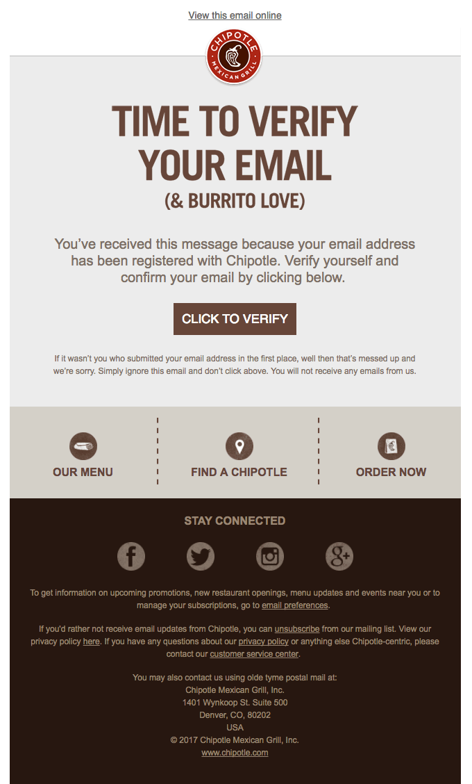 chipotle email marketing example