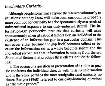 psychology of curiosity