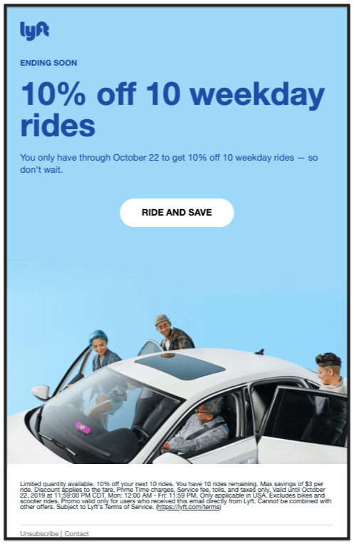 Lyft 10% off email newsletter design example