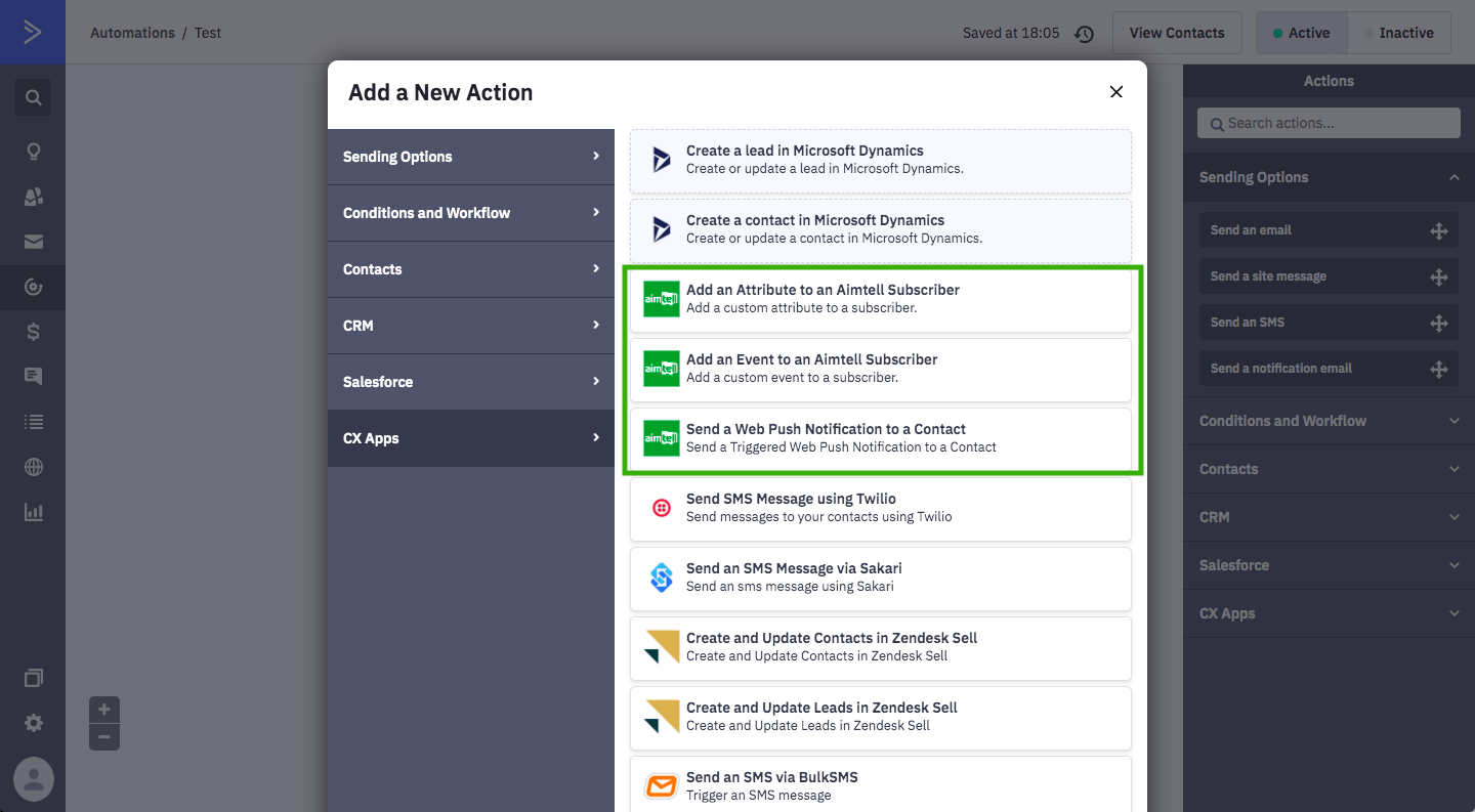 Aimtell actions automate web push notifications