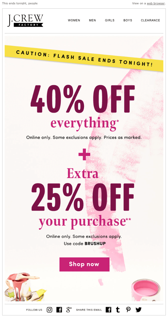 J. Crew Factory sitewide sale broadcast email example