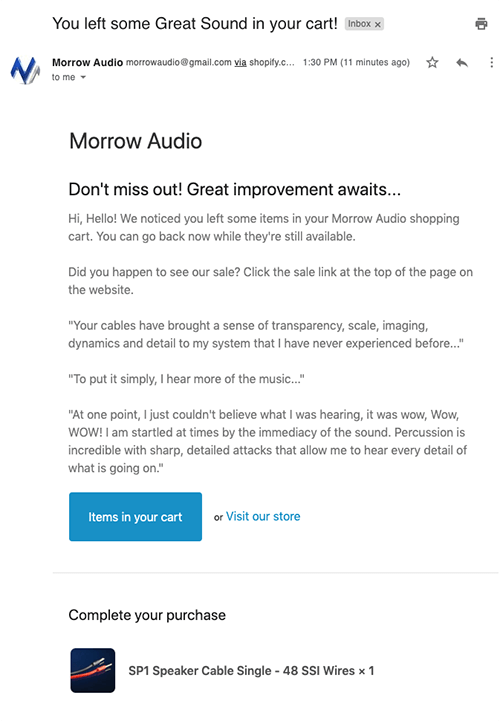 Morrow Audio abandoned cart email