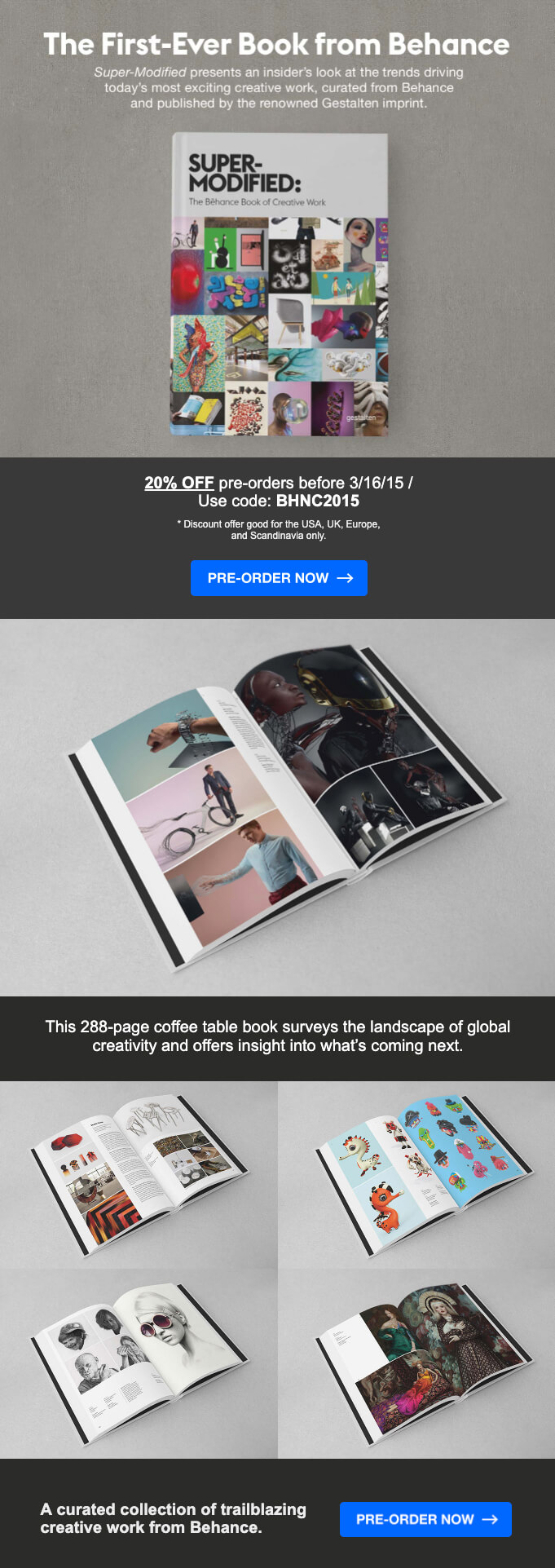 Behance product launch announcement email
