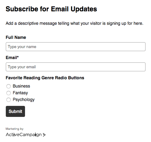 Radio button form: What's your favorite genre?