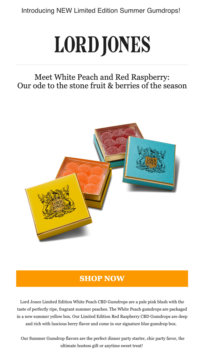 Lord Jones limited edition release email