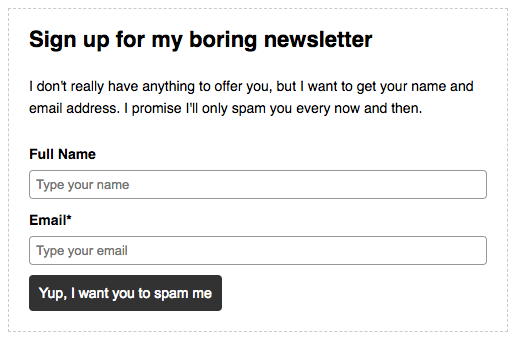 an example of a bad newsletter opt-in form