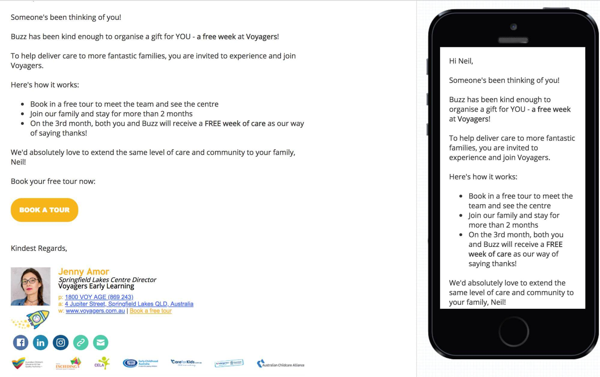 referral email with tour CTA