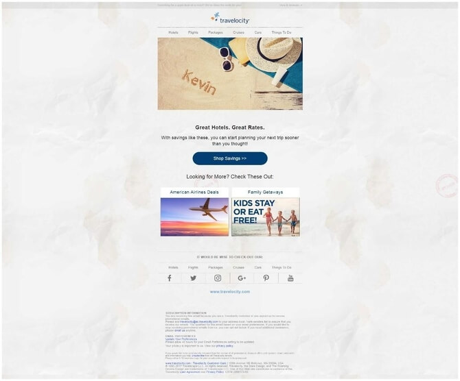 Travelocity email example