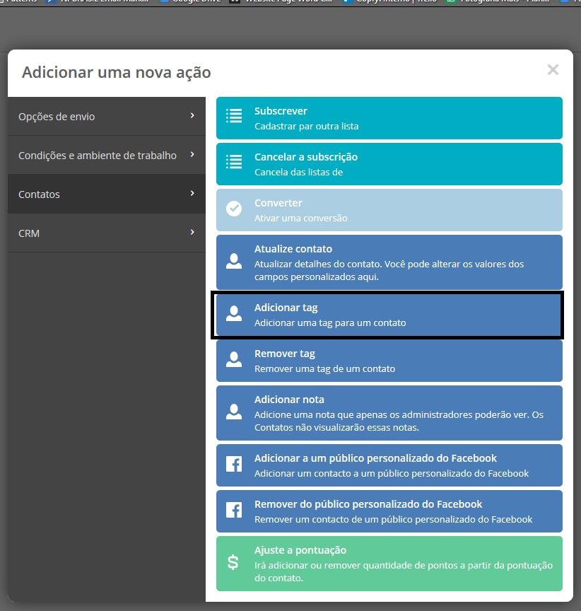 como adicionar uma tag a um contato pela ferramenta