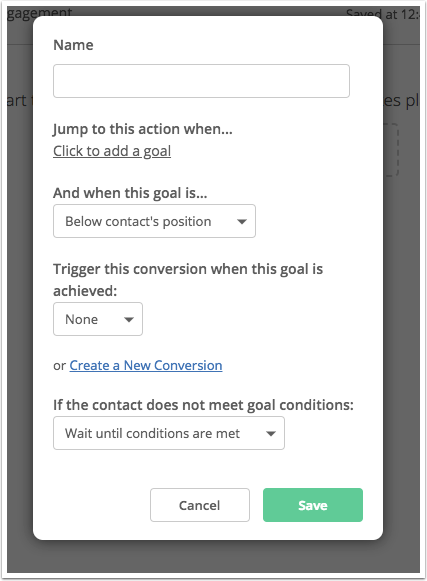 Screenshot of ActiveCampaign's software which allows users to create goals as part of the automation process