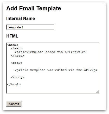 Screenshot of the HTML form