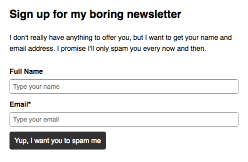 what most newsletter forms really say